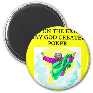 god created poker 2 inch round magnet