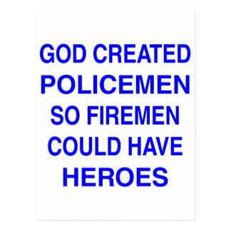God created Policemen Postcard