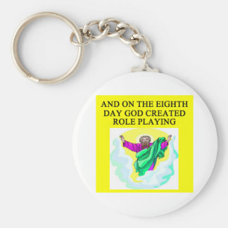 god created role playing basic round button keychain