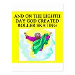 god created roller skating postcard