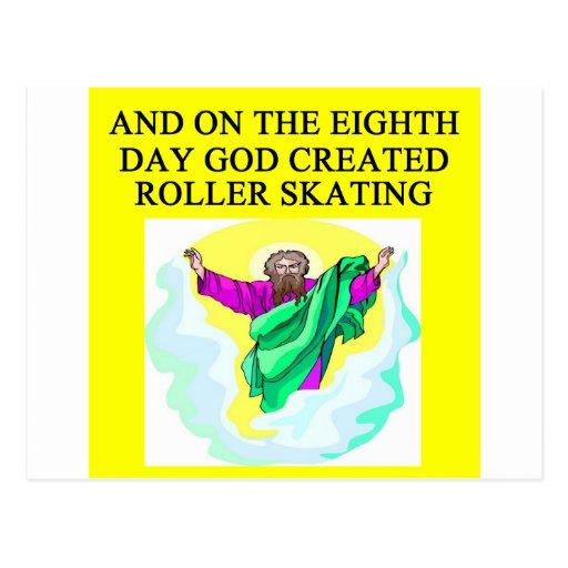 god created roller skating postcards