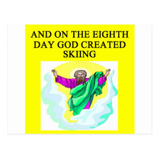 god created skiing postcard