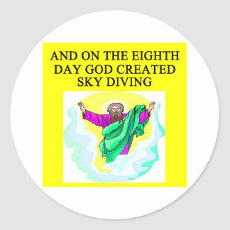 god created sky diving classic round sticker