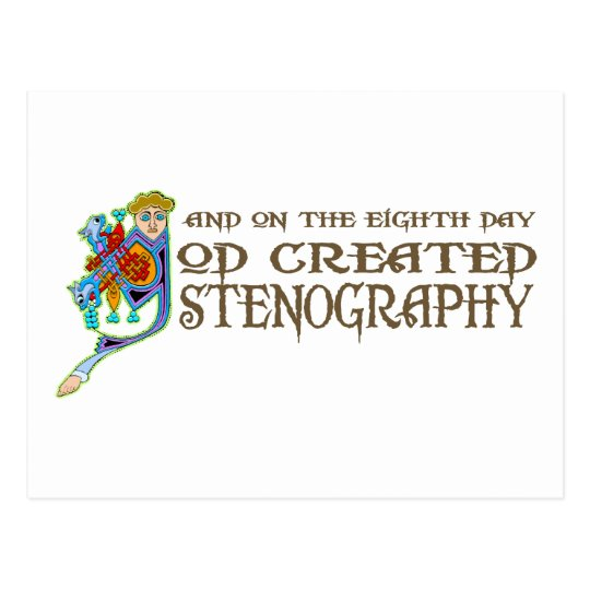 God Created Stenography Postcard
