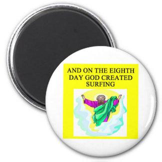 god created surfing 2 inch round magnet