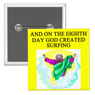 god created surfing pinback button