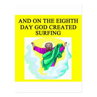 god created surfing postcard