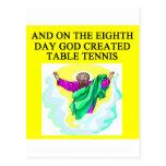 god created table tennis postcard