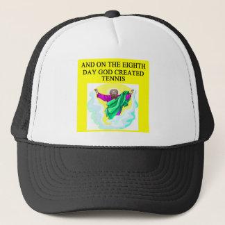 god created  tennis trucker hat