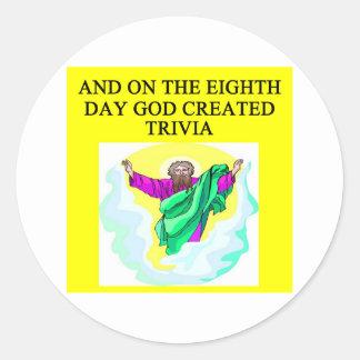 god created trivia classic round sticker