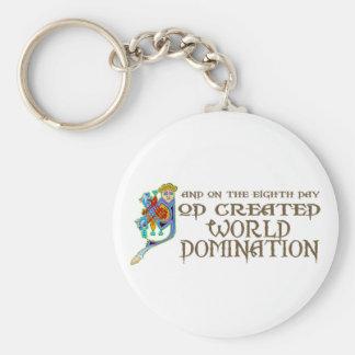 God Created World Domination Basic Round Button Keychain
