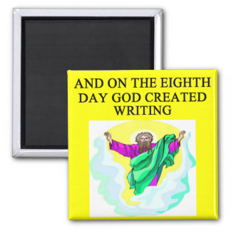 god created writing 2 inch square magnet