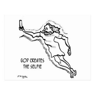 God Creates the Selfie Postcard