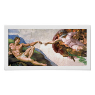 God Creating Adam (detail) by Michelangelo Poster
