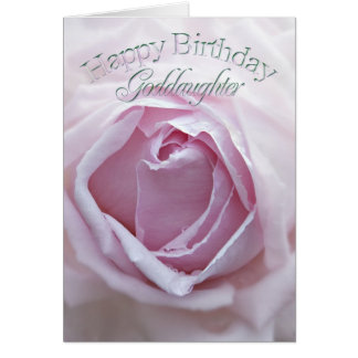 God daughter, Birthday card with a pink rose