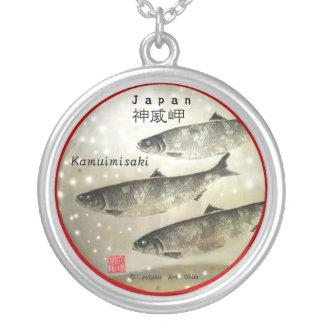 God dignity promontory herring! FISH ART JAPAN Round Pendant Necklace