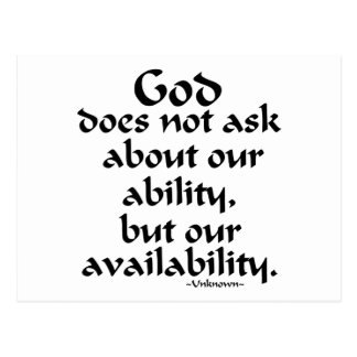 God does not ask... postcards