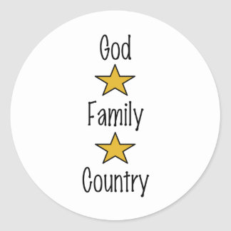 God Family Country Classic Round Sticker