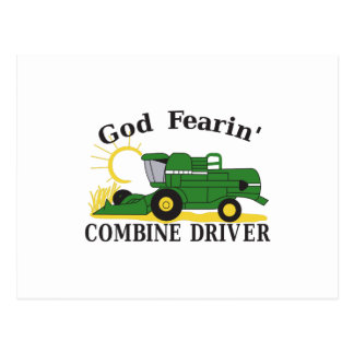 God Fearin Combine Driver Postcard