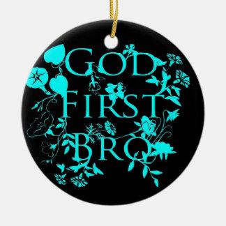 God First Bro (black and blue) Ceramic Ornament