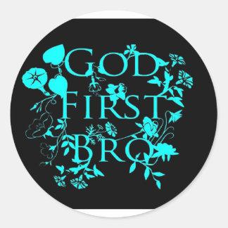 God First Bro (black and blue) Classic Round Sticker