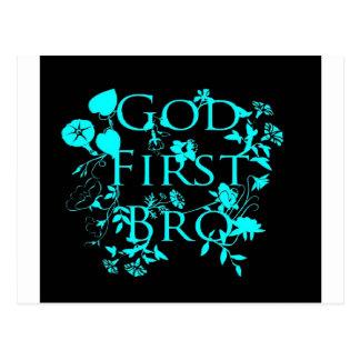 God First Bro (black and blue) Postcard