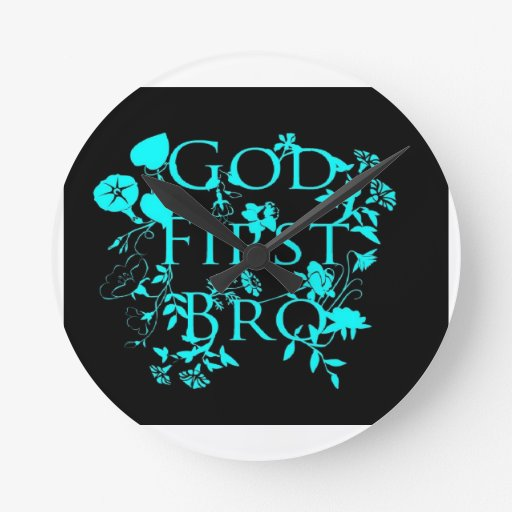 God First Bro (black and blue) Round Wallclock