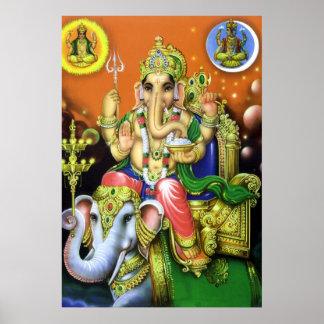 God Ganesha on Elephant Poster