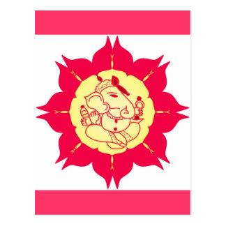 God Ganesha on flower Postcard