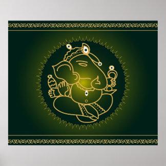 God Ganesha on green - Poster
