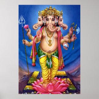 God Ganesha on Lotus Poster