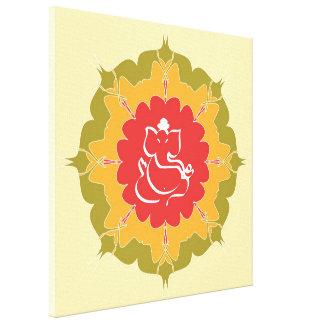 God Ganesha on mandala flower Canvas Print