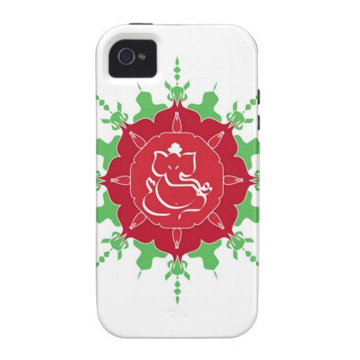 God Ganesha on red flower Case-Mate iPhone 4 Covers