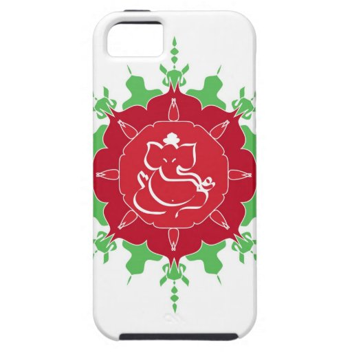 God Ganesha on red flower iPhone 5 Covers