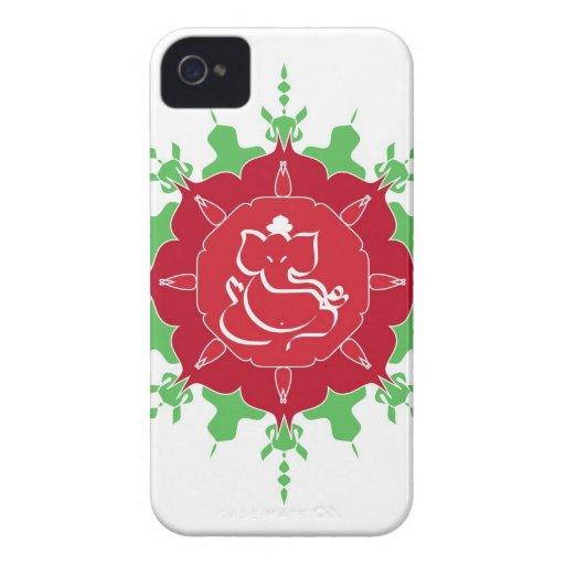 God Ganesha on red flower iPhone 4 Cases