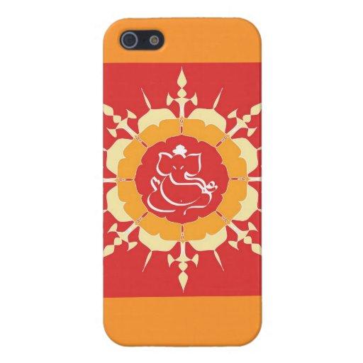 God Ganesha on red flower iPhone 5 Cases