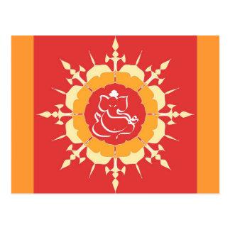 God Ganesha on red flower Postcard
