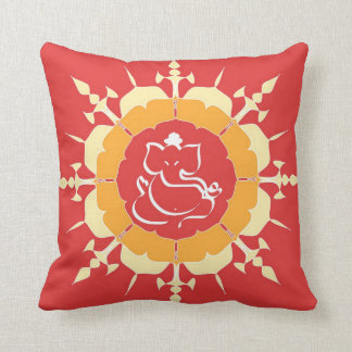 God Ganesha on red flower Throw Pillow