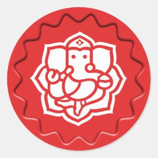God Ganesha Sign Seal Classic Round Sticker