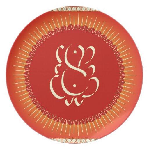 God Ganesha with sun rays Dinner Plates