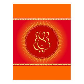 God Ganesha with sun rays Postcard