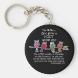 God Gives a Hoot Owls Basic Round Button Keychain