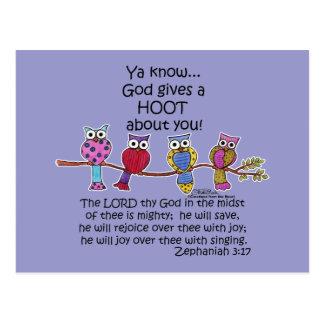 God Gives a Hoot Owls Postcard