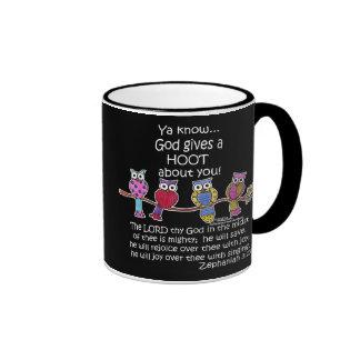 God Gives a Hoot Owls Ringer Mug
