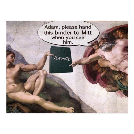God giving Adam Romney's Binder Full of Women Postcard