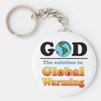God Global Warming Keychain