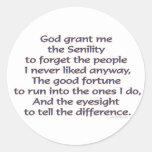 God Grant Me Humor Classic Round Sticker