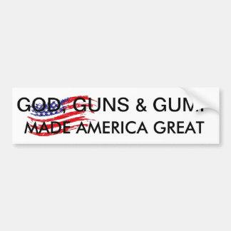 god guns and gump made america great bumper sticker