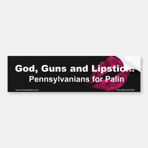 God Guns and Lipstick Pennsylvania Car Bumper Sticker
