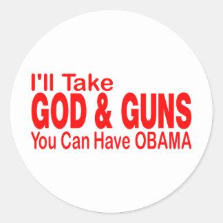GOD & GUNS CLASSIC ROUND STICKER